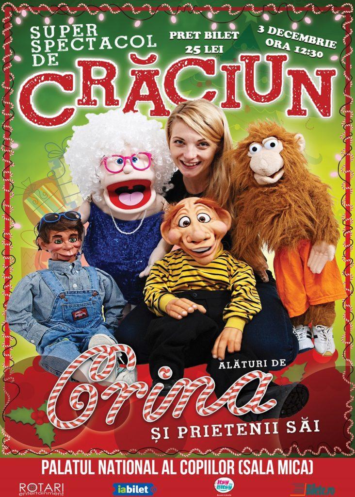 Spectacol pentru copii Crăciun alături de Crina și prietenii săi la Palatul Național al Copiilor - Sala Mică