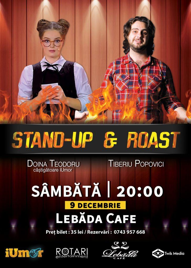 Stand Up & Roast cu Doina Teodoru și Tiberiu Popovici la Lebăda Cafe Bârlad