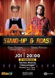 Spectacol de Stand Up & Roast cu Doina Teodoru și Tiberiu Popovici, la Teatrul Muzical Nae Leonard Galați