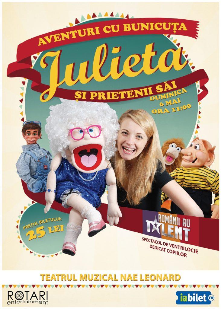 Spectacol pentru copii Aventuri cu bunicuța Julieta și prietenii săi cu Crina Zvobodă, la Teatrul Muzical Nae Leonard Galați