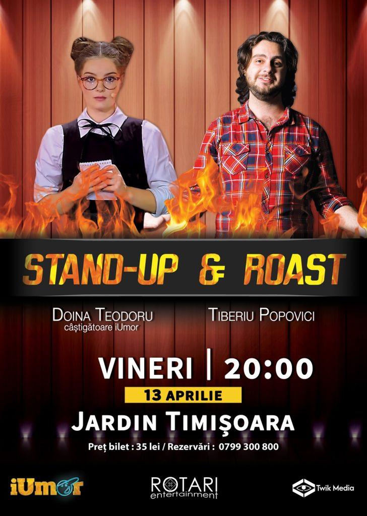 Spectacol de Stand Up & Roast cu Doina Teodoru și Tiberiu Popovici, la Jardin Bistro Timișoara