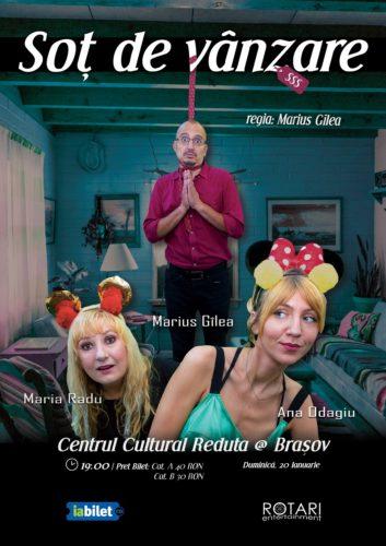 Piesa de Teatru Soț de vânzare după Mihail Zadornov, în regia lui Marius Gîlea, cu Ana Odagiu, Marius Gîlea și Maria Radu, la Centrul Cultural Reduta din Brașov