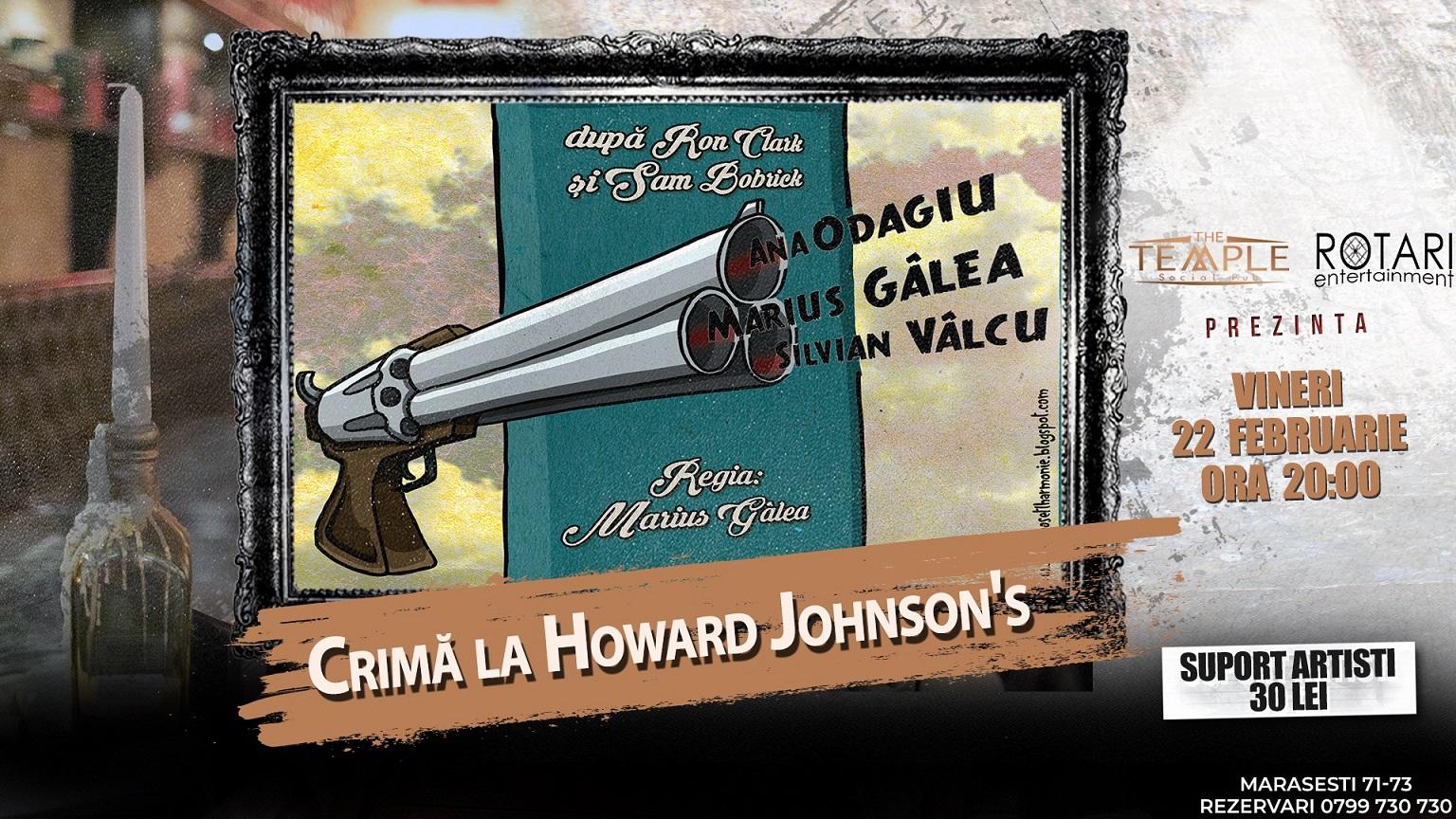 """Piesa de teatru """"Crimă la Howard Johnson's"""" în regia lui Marius Gîlea, cu Ana Odagiu, Silvian Vâlcu și Marius Gîlea,la The Temple Social Pub"""