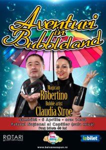 Spectacolul pentru copii Aventuri în Bubbleland cu Bubble Artist Claudia Stroe și Magicianul Robertino, la Sala Mică a Palatului Național al Copiilor