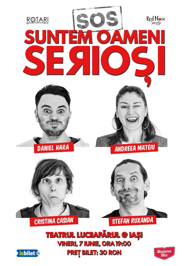 Piesa de teatru Suntem oameni serioși în regia lui Ștefan Ruxanda, cu Andreea Mateiu, Cristina Casian, Daniel Hara și Ștefan Ruxanda, la Teatrul Luceafărul din Iași