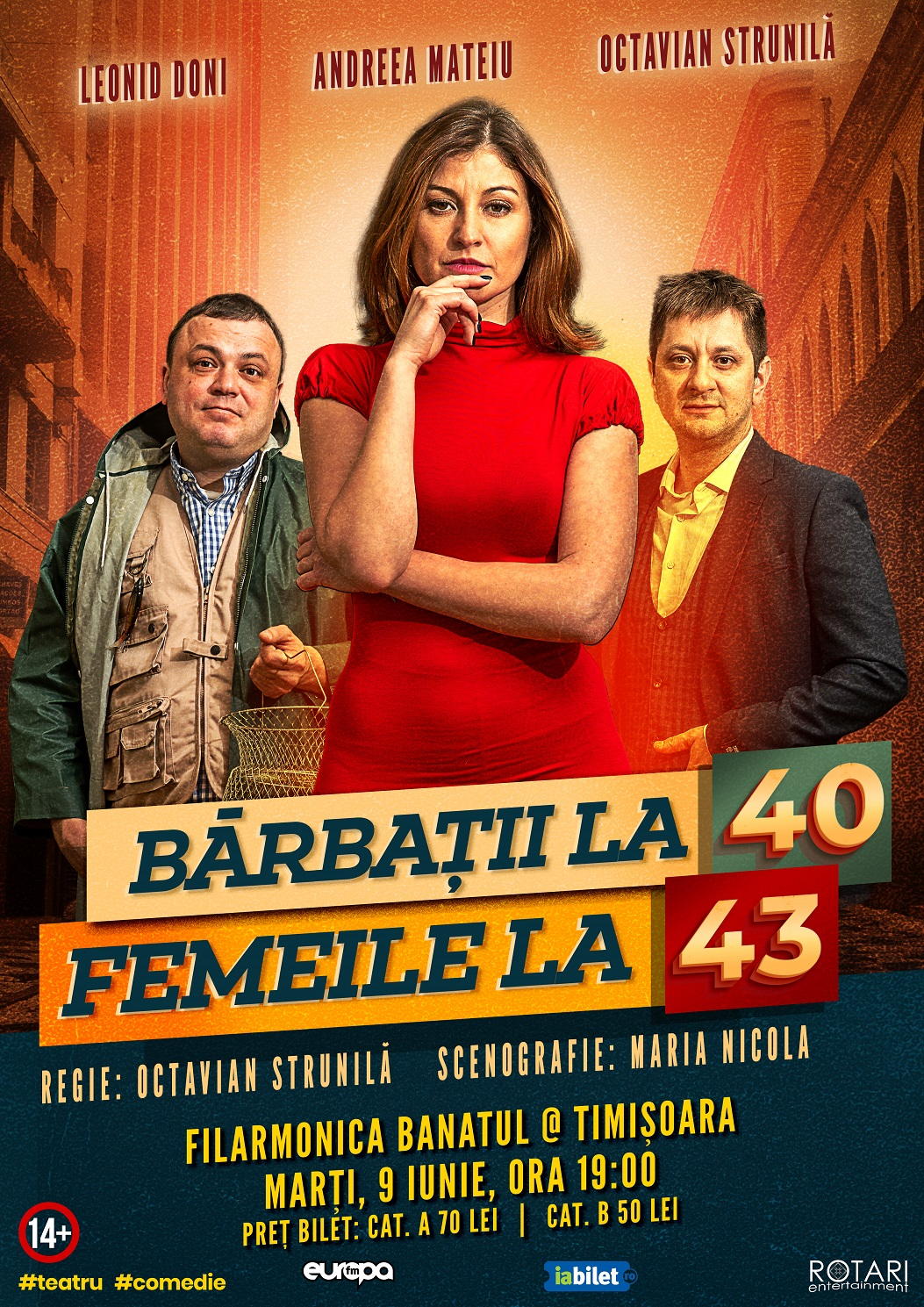 Bărbații la 40, Femeile la 43 în regia lui Octavian Strunilă, cu Leonid Doni, Andreea Mateiu și Octavian Strunilă, la Filarmonica Banatul din Timișoara