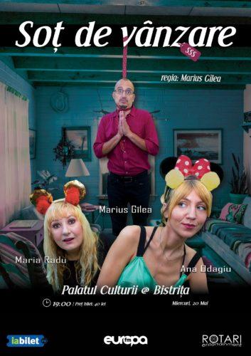Piesa de teatru Soț de vânzare după Mihail Zadornov, în regia lui Marius Gîlea, cu Ana Odagiu, Marius Gîlea și Maria Radu, la Centrul Cultural Municipal din Bistrița