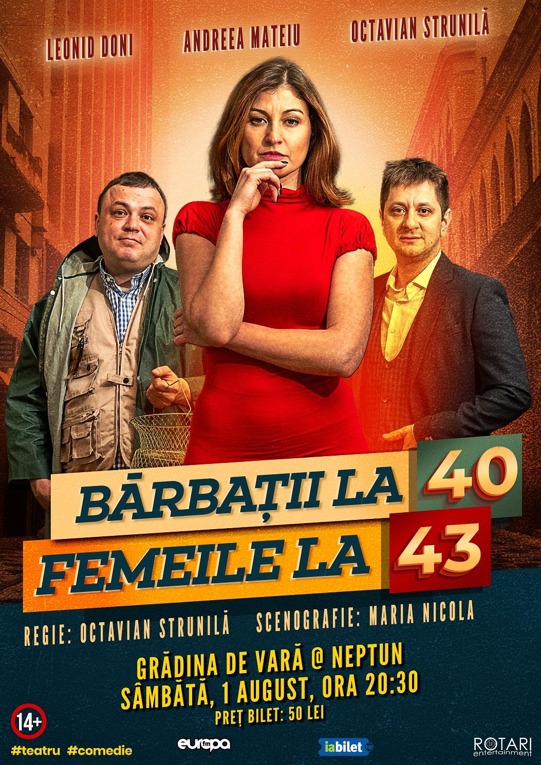 Bărbații la 40, Femeile la 43 în regia lui Octavian Strunilă, cu Leonid Doni, Andreea Mateiu și Octavian Strunilă, la Grădina de Vară din Neptun