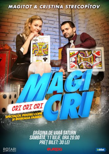 Spectacolul de magie pentru copii Cri Cri Cri MagiCri cu Magitot și Cristina Strecopîtov, la Grădina de Vară din Saturn